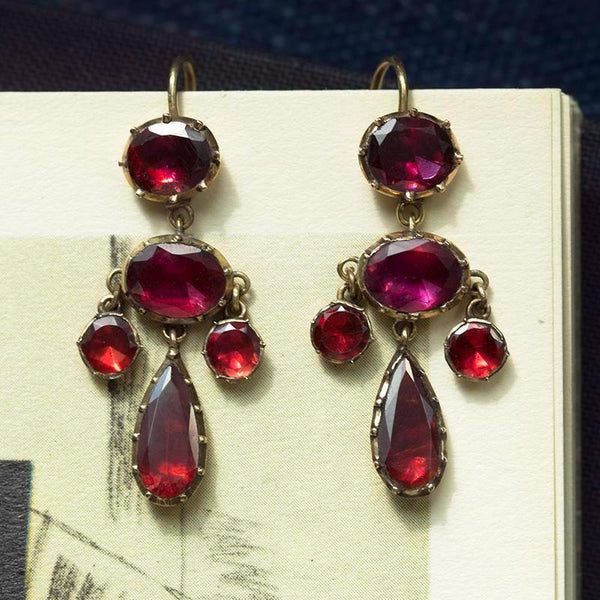 Georgian Garnet Petite Girandole Earrings