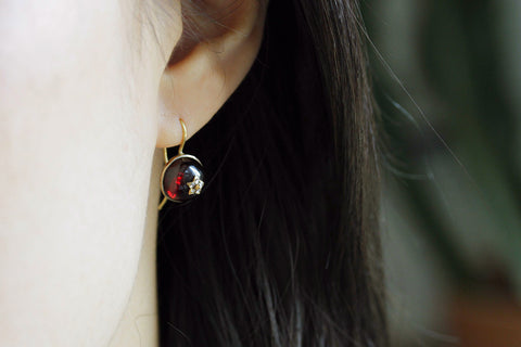 Victorian Garnet and Diamond Earrings