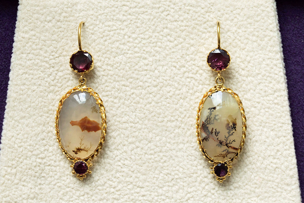 Late Georgian Agate and Garnet Earrings