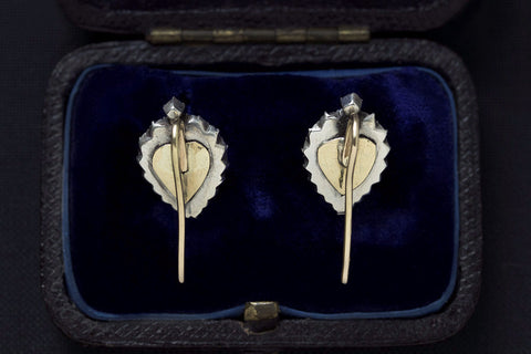 Georgian Heart Shaped Black Dot Paste Earrings