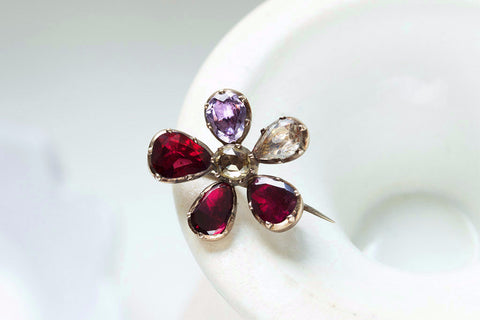 Georgian Gem Set Pansy Brooch