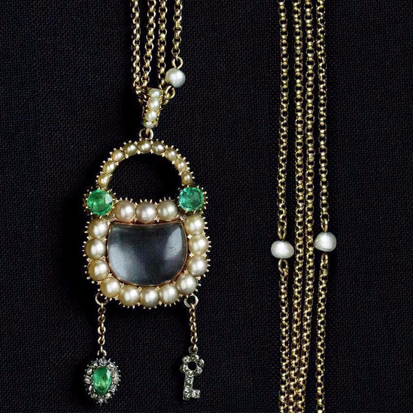 Georgian Emerald Pearl Diamond Padlock with Matching Chain