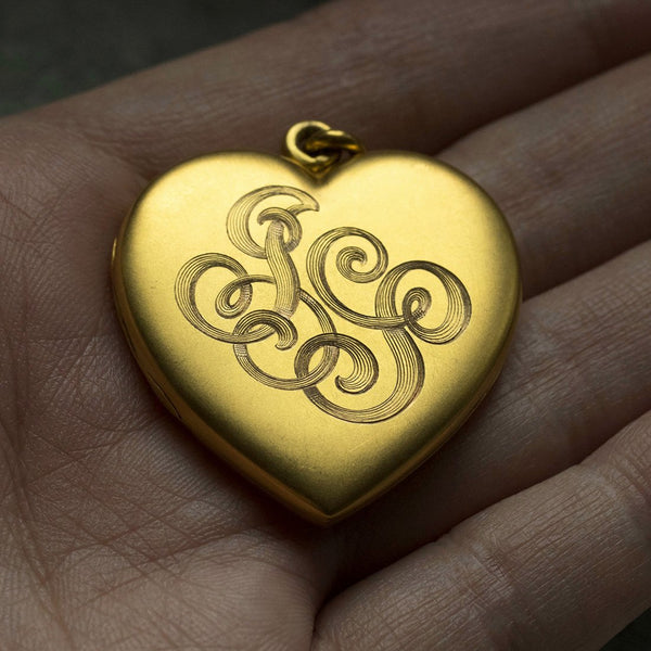 Edwardian Large Gold Heart Locket