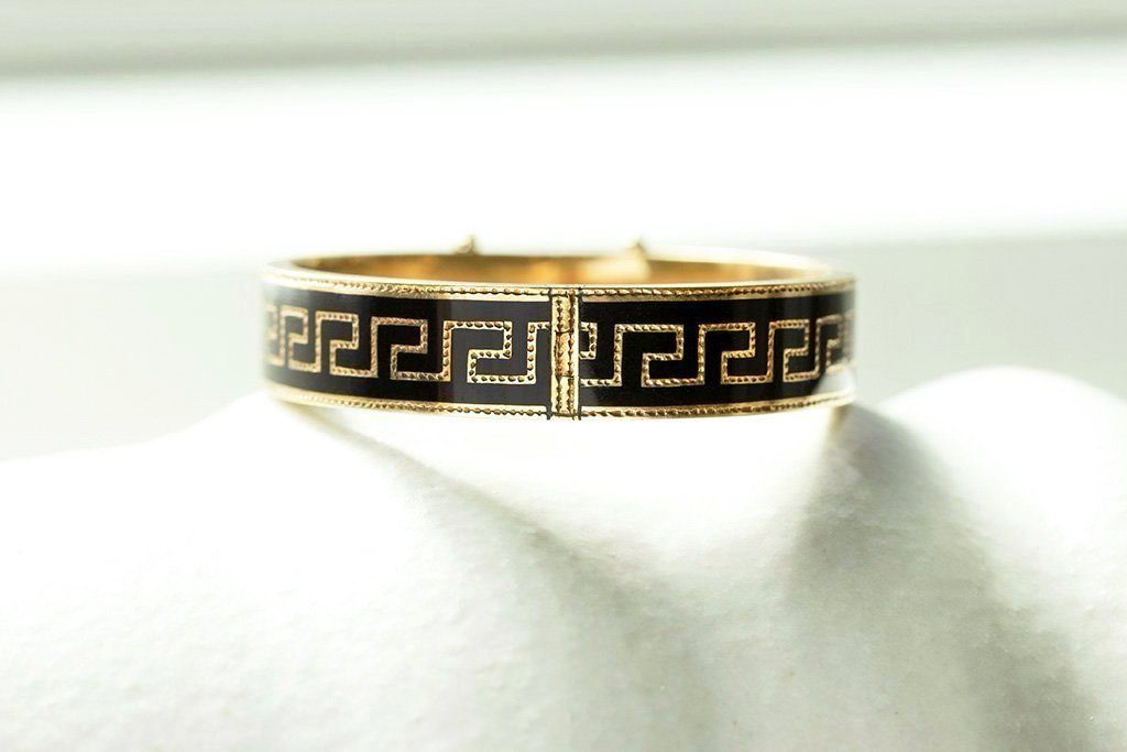 Victorian Greek Key Enamel Bangle