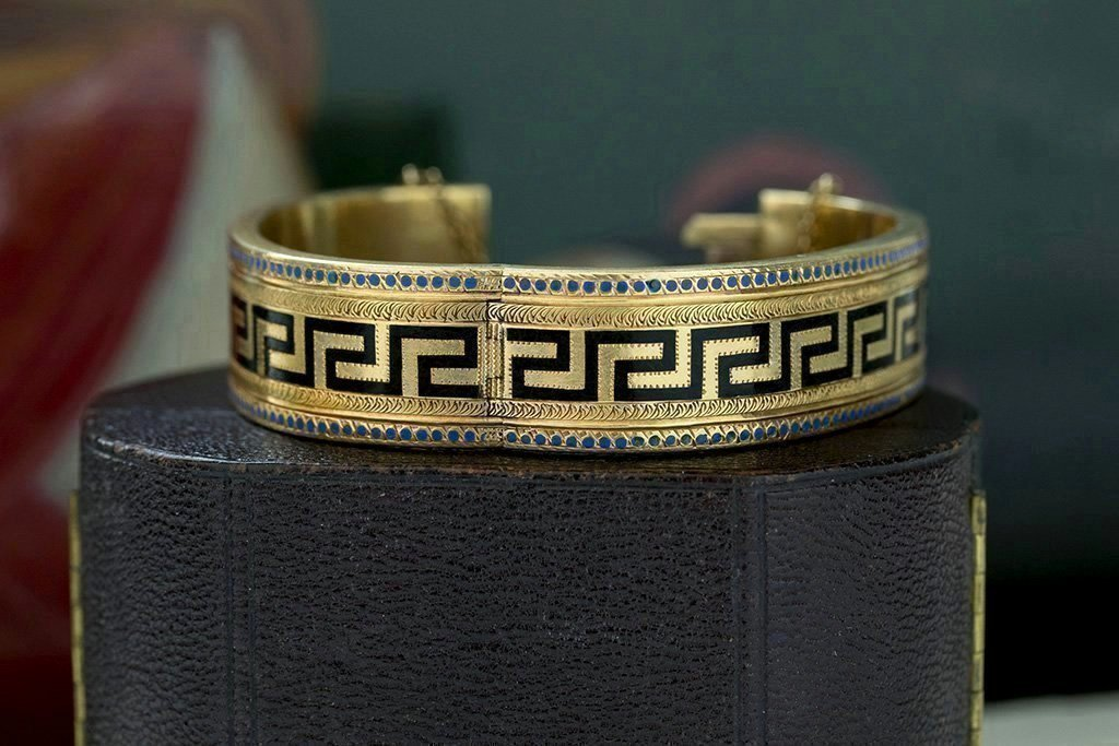 Victorian Greek Key Enamel Gold Bangle