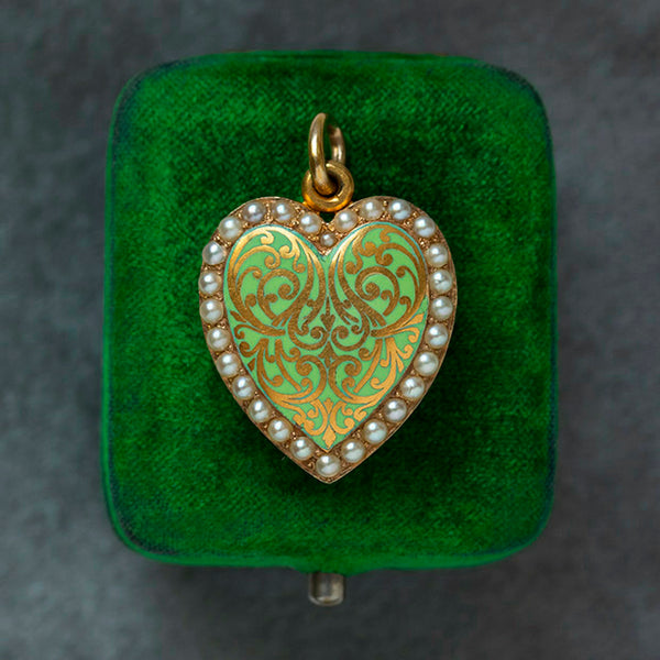 Green Enamel & Pearl Heart Locket