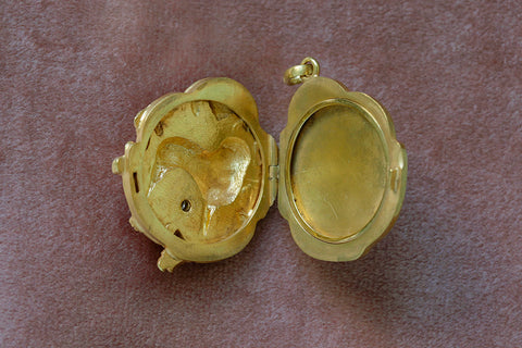 Art Nouveau Dog Locket with Diamond