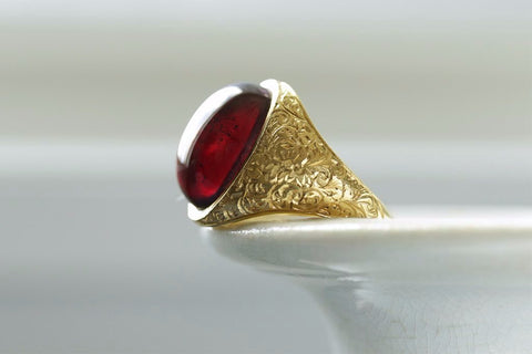 Large Cabochon Garnet Victorian Ring
