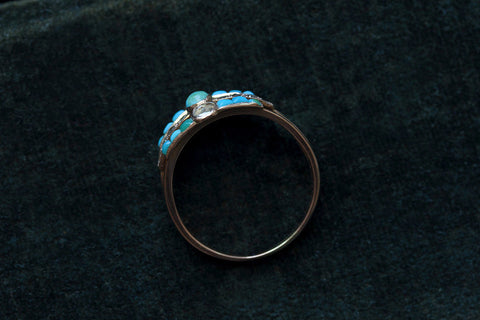 Victorian Harem Ring with Diamond and Turquoise