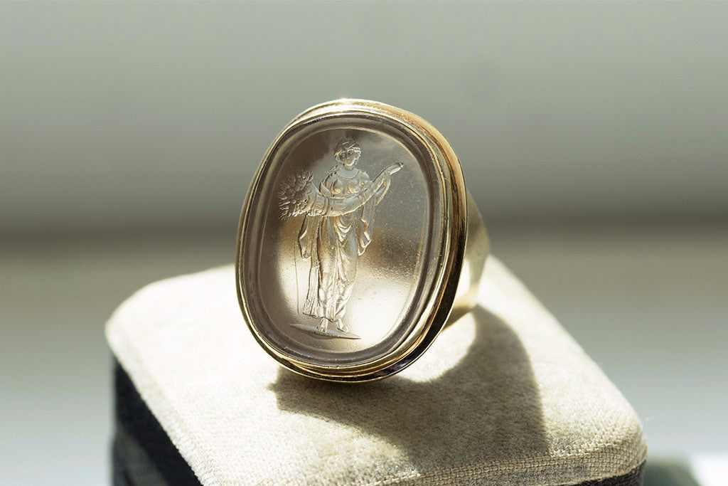 Antique Harvest Figure Tassie Intaglio Ring