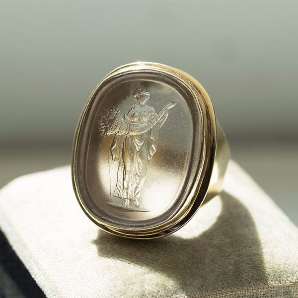 Antique Harvest Figure Tassie Ring
