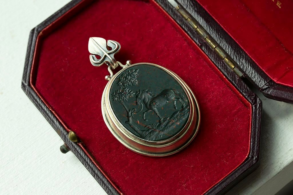 Antique Sterling Bloodstone Intaglio Pendant