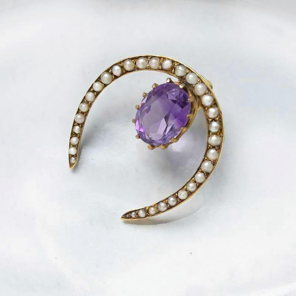Large Victorian Pearl Horseshoe & Amethyst Single Stud Earring