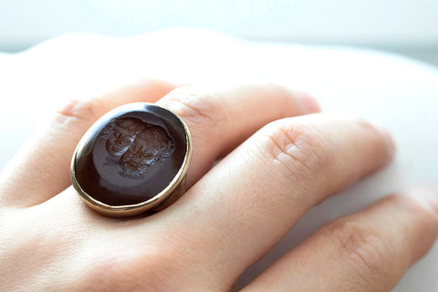 Unusual Large Carved Intaglio Ring