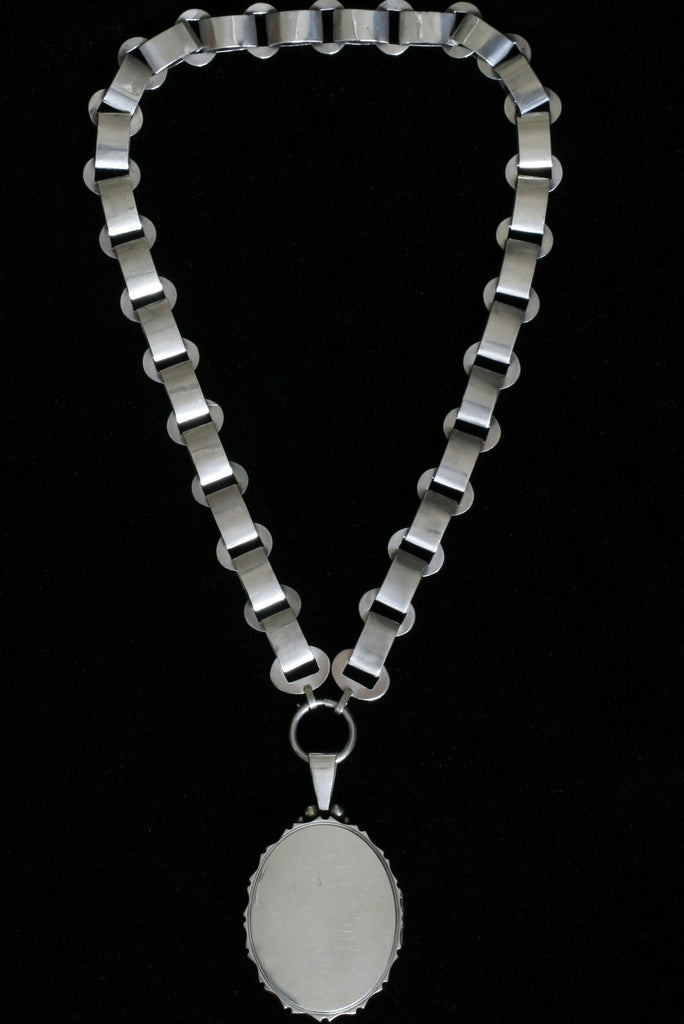 Victorian Aesthetic Movement Silver Collar and Locket