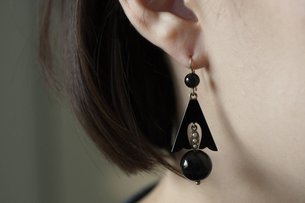 Victorian Onyx and Seed Pearl Earrings
