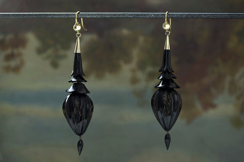 Victorian Carved and Etched Whitby Jet Earrings