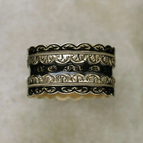 Unusual Black Enamel Wide Mourning Ring