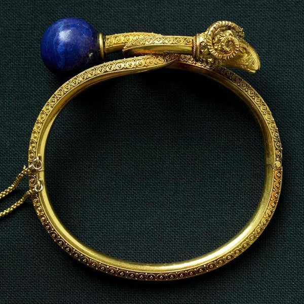 Victorian Etruscan Revival Lapis & Ram's Head Bangle