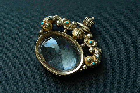 c.1820. Large Rock Crystal Swivel Fob Pendant