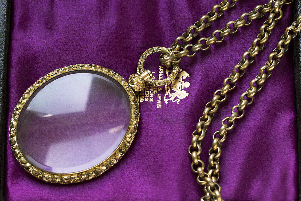 Large Georgian Engraved Locket and Chain