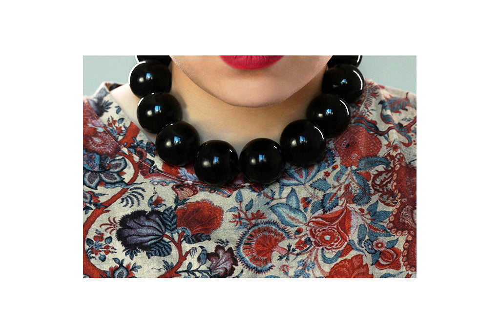 Victorian Extra Large Whitby Jet Beads Necklace