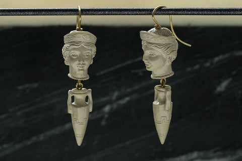 Victorian Carved Lava Cameo Drop Earrings
