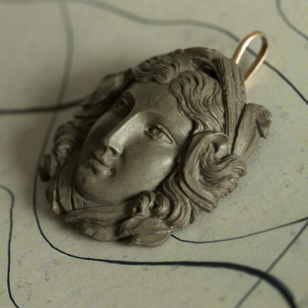Large Victorian Carved Lava Pendant