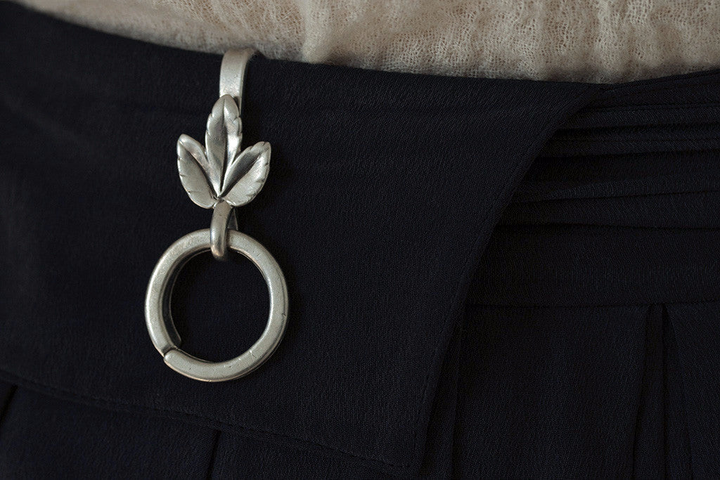 Sterling Silver Key Chain with Grape Leaf Motif