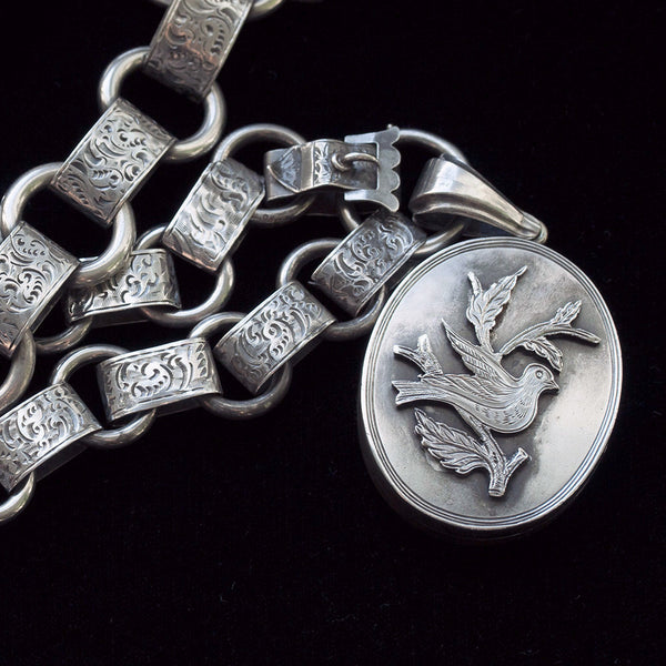 Victorian Extra Long Sterling Silver Chain and Locket