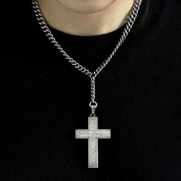 Sv. de Lourdes Silver Cross and Chain