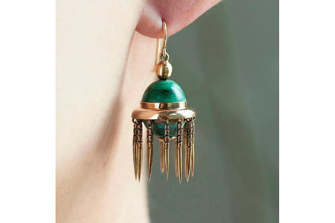 Victorian Malachite & Gold Tassel Earrings