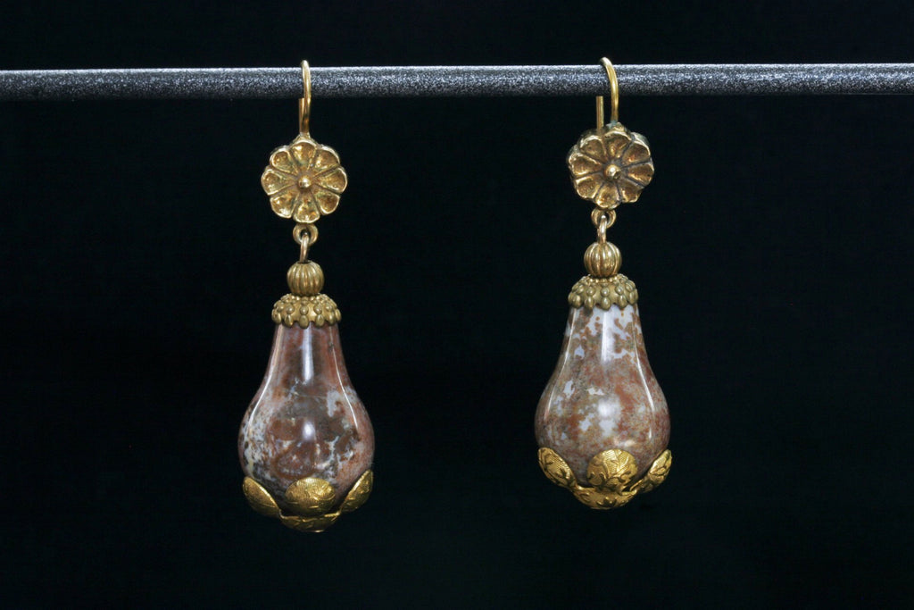 Victorian Agate and Pinchbeck Drop Earrings
