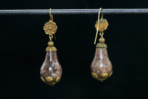 Victorian Pink Agate Drop Earrings