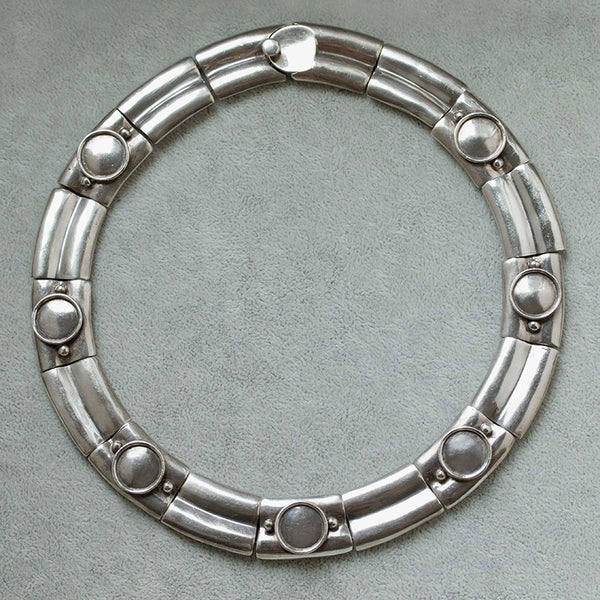 Vintage Mexican Sterling Silver Collar Necklace
