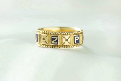 'MIZPAH' Blue Enamel and Gold Band
