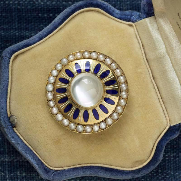 Victorian Moonstone Brooch with Blue Enamel and Pearl