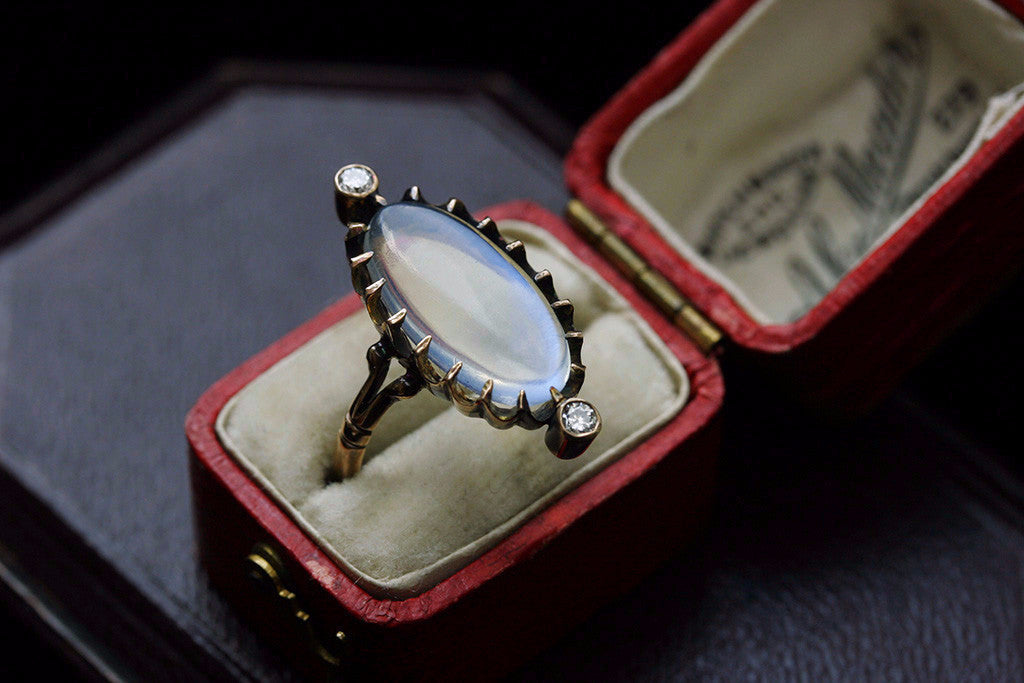 'Blue Flash' Moonstone Ring with Diamond