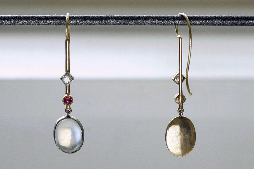 Edwardian 'Skate-Blade' Earrings with Moonstone, Diamond and Ruby