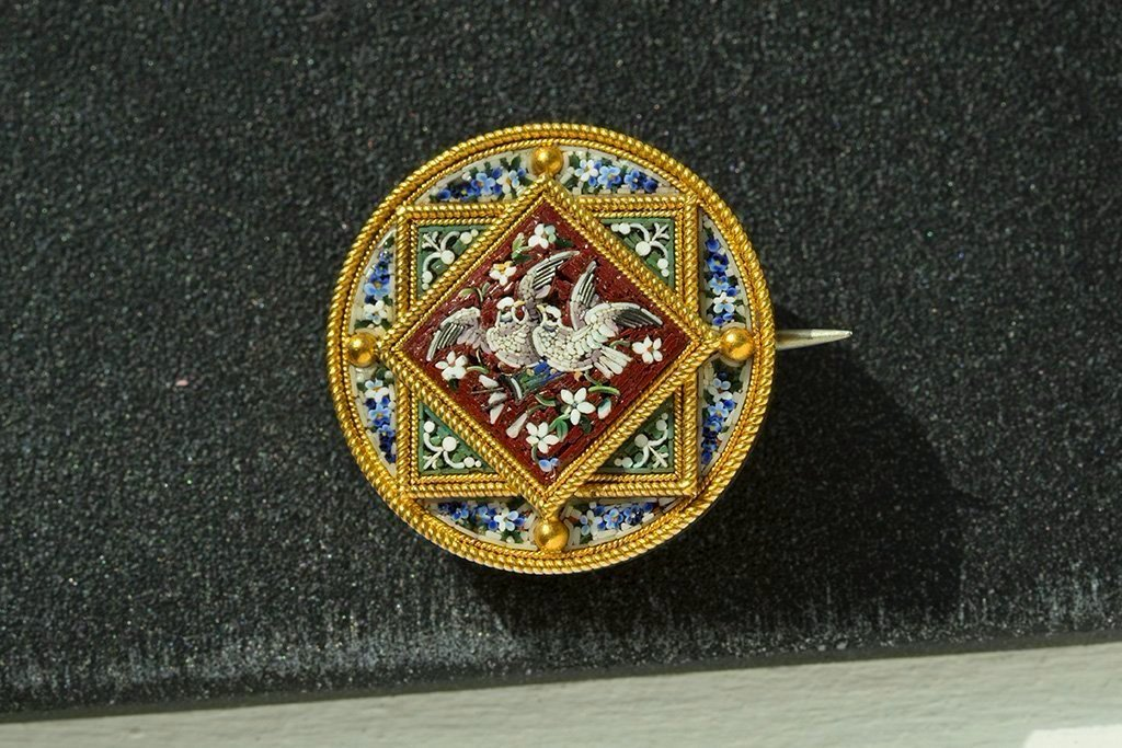 Victorian Micro Mosaic Bird and Flower Pin