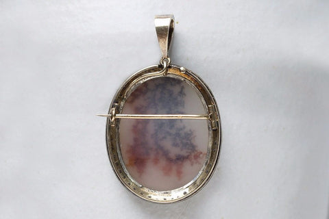 Victorian Agate and Diamond Brooch Pendant