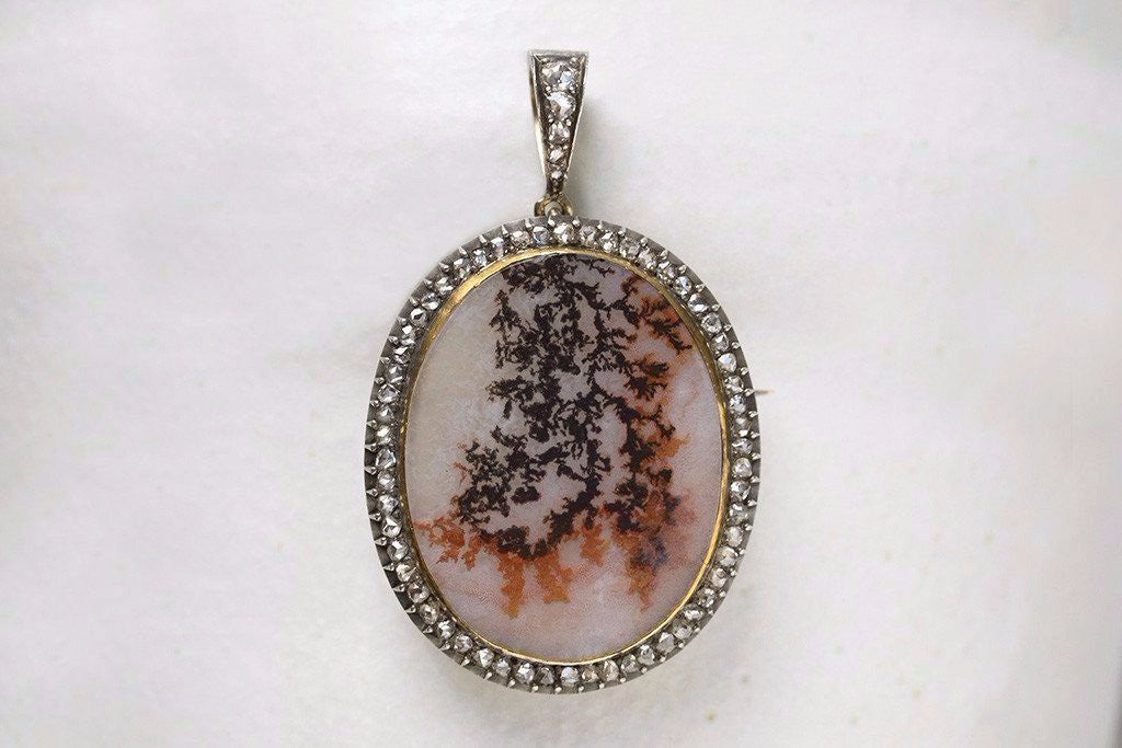 Victorian Agate and Diamond Pendant Brooch
