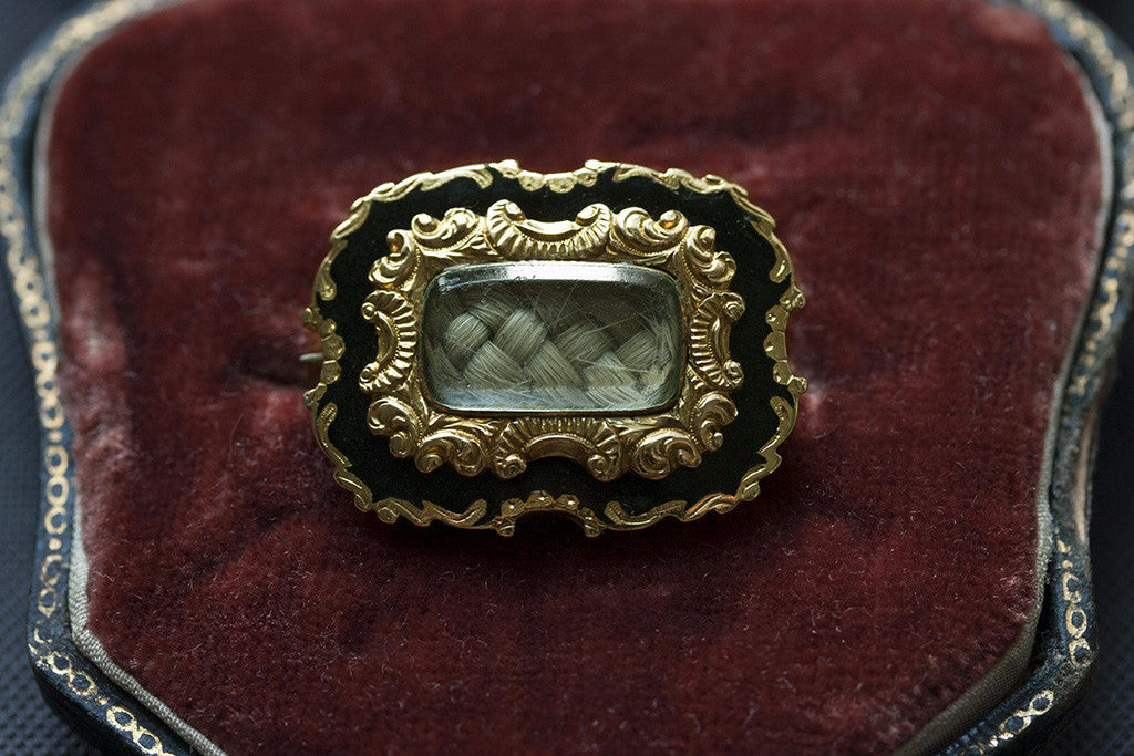 Georgian Black Enamel and Gold Mourning Brooch in Antique Case
