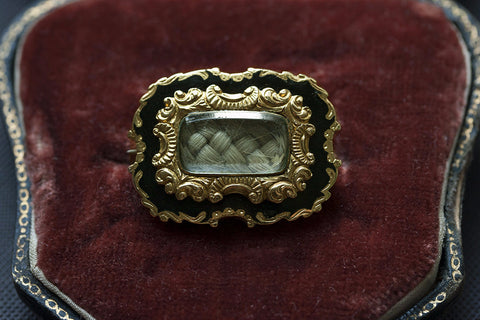 Georgian Black Enamel and Gold Mourning Brooch in Box