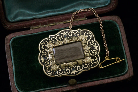 Enamel and Gold Mourning Brooch