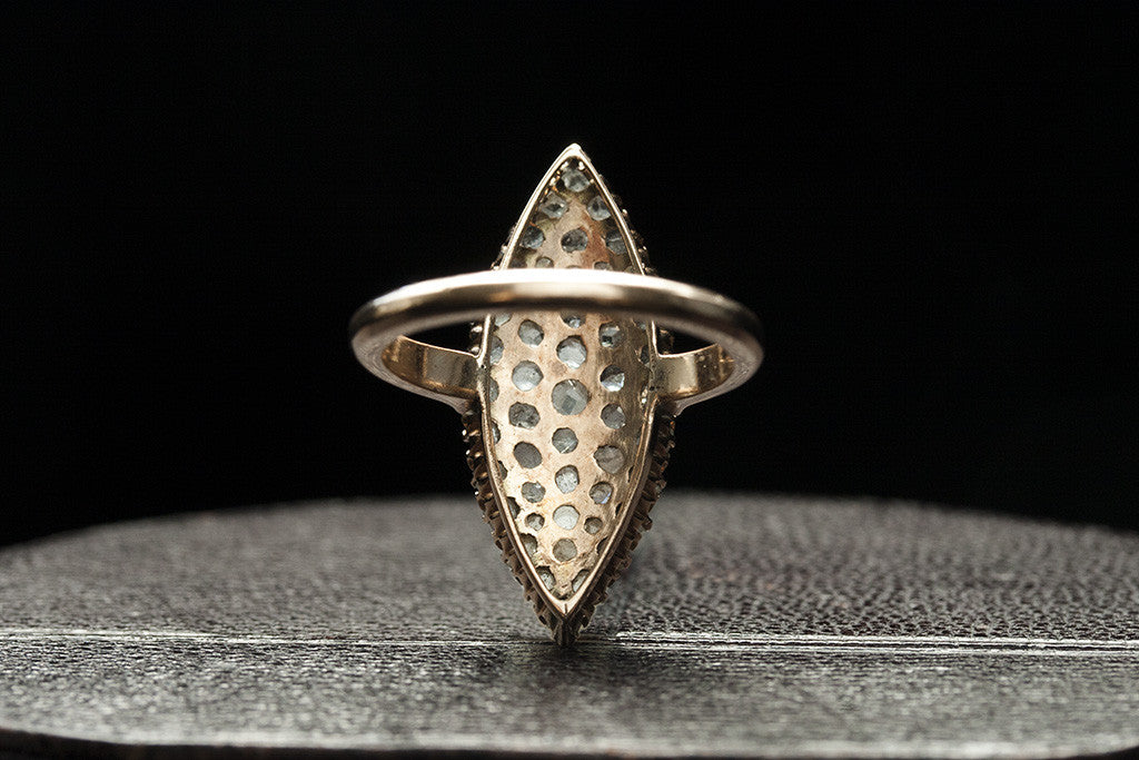 Victorian Rose Cut Diamond Cluster Navette Ring