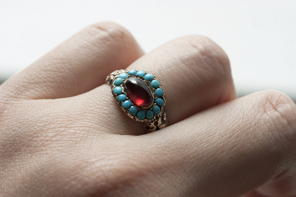 Georgian Turquoise and Garnet Ring