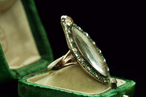 Georgian Memorial Ring with Emerald and Diamond