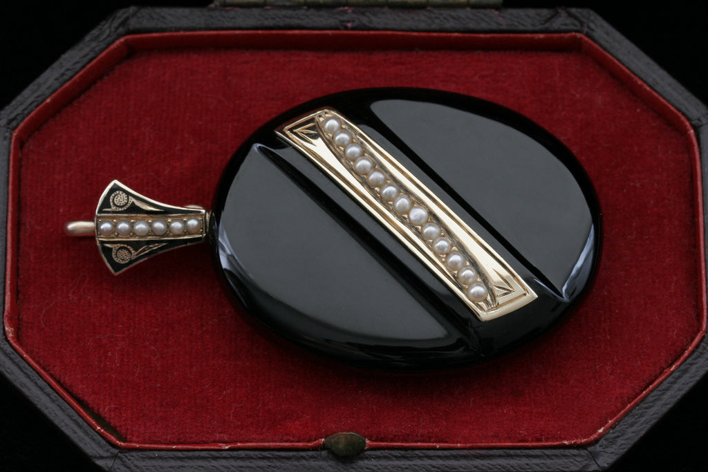 Victorian Onyx, Enamel, and Seed Pearl Locket