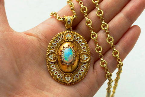 Victorian Gold Locket with Opal, Enamel & Diamond